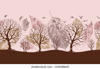 Seamless border of trees and birds in warm colors, vector illustration, silhouette. Print with a landscape for fabric, wallpaper and other designs.
