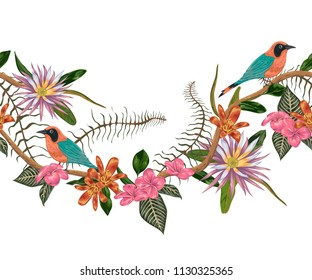 Seamless border with tropical birds, plants and flowers. Exotic flora and fauna. Vector illustration in watercolor style
