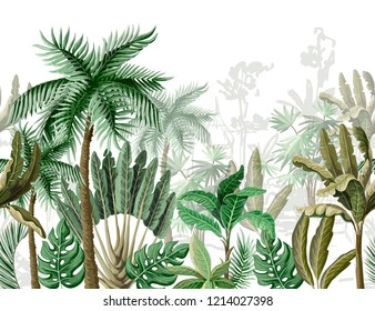 Seamless border with tropical tree such as palm, banana.