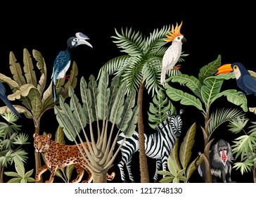 Seamless border with tropical tree such as palm, banana and jungle animals.