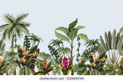 Seamless border with tropical tree such as palm, banana and flowers.