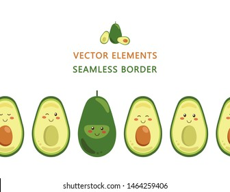 Seamless border of vector smiling avocado characters isolated on a white background. Whole and cut in half avocado with pit. Endless horizontal brush. Kawaii style