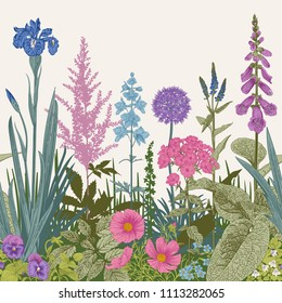 Seamless border. Vector vintage illustration. Pink, violet, blue, purple garden flowers