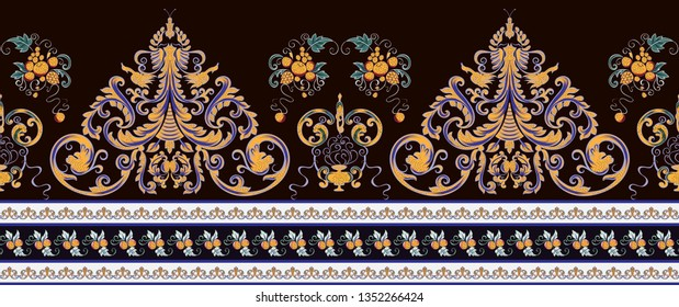 seamless border in Victorian style blue color yellow, decorated stripes and fruits orange and small tangerines on a dark background