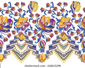 seamless border with waves blue  ornament,decorated small and big colorful yellow  blue tulips