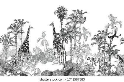 Seamless Border Wildlife in Tropics Toile, Engraving Mural Exotic Palms and Giraffes, Monkeys, Cheetah on White Background, Panorama Landscape View Tropical Jungle Banana Trees Wildlife Wallpaper