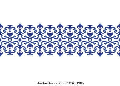 seamless borders abstract ornament Japan and Chinese style, Imitation of porcelain painting, blue and white ceramic decorative line design, vector illustration
