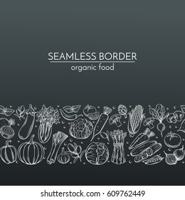Seamless borders with hand drawn vegetables for farmers market menu design. White on black. Vector vintage illustration.