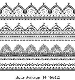 Seamless borders pattern for Mehndi, Henna drawing and tattoo. Decoration in ethnic oriental, Indian style. Doodle ornament. Outline hand draw vector illustration.
