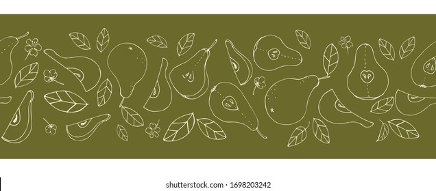 Seamless borders, ribbons, fruits and leaves. Tasty, juicy pears. Background design for duct tape, adhesive tape, packaging, paper, textile, fabric, eco products, vegetarian menu. Vector graphics.