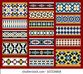 Seamless Borders Set in Moroccan style. Mosaic tile. Islamic traditional ornament.  Vector illustration.