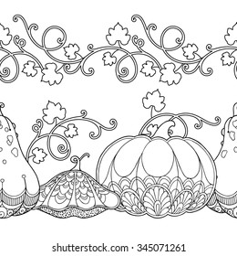 Seamless borders vector set in doodle style. Floral, ornate, decorative, tribal, garden design elements. Black and white background. Pumpkins and leaves. Zentangle coloring book page