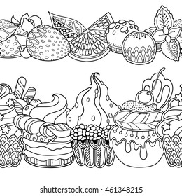 Seamless borders vector set in doodle style. Floral, ornate, decorative,sweets, dessert design elements. Black and white background. Cupcakes Strawberry candy. Zentangle coloring book page