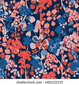Seamless Botanica Vintage Style Vector Pattern Design