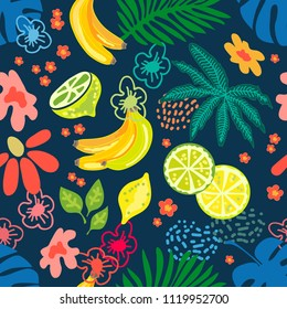 Seamless botanical pattern with exotic flowers, lemons, bananas and tropical leaves inspired by 1950s-1960s design. Retro textile collection. On dark blue background.