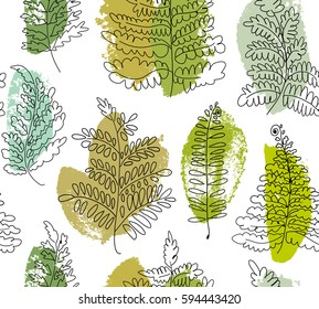 Seamless botanical pattern with fern. Vector floral pattern with drawn fern. Graphic texture