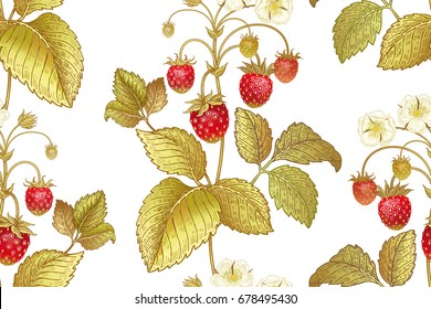 Seamless botanical pattern with flowers and berries of strawberry on white background. Vintage. Victorian style. Vector illustration. Template for kitchen design, packaging for food, paper, textiles.