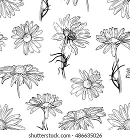 Seamless botanical pattern with rudbeckia and chamomile. Herbal background. Hand drawn flower illustration. Floral vector. Botany. Seamless pattern with hand drawn plants.