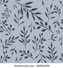 Seamless botanical pattern. Watercolor background with leaves