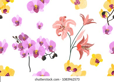 Seamless botanical print with tropical motifs. Trendy stripped pattern with blooming orchids, lilies and leaves. On white.