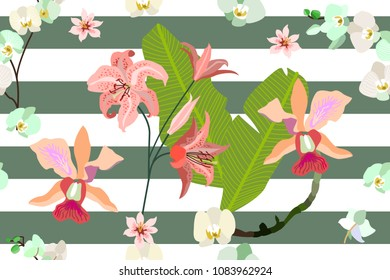 Seamless botanical print with tropical motifs. Trendy stripped pattern with blooming orchids, lilies and leaves. White, red, green.