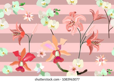 Seamless botanical print with tropical motifs. Trendy stripped pattern with blooming orchids, lilies and leaves. Pink,  red.