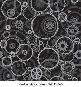 Seamless both side Cogwheels pattern, vector layered.