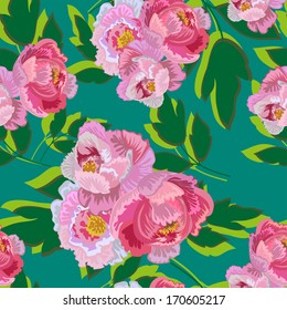 Seamless Bouquet Of Peonies