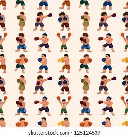 seamless boxer pattern,cartoon vector illustration
