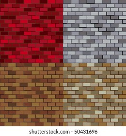Seamless brick wall pattern in four colorways.