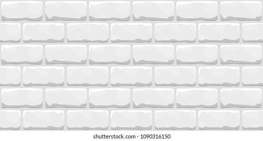 Seamless brick wall pattern. White color. Hand drawn and repeatable. Modern beautiful texture. Realistic interior design. Simple flat style vector illustration.