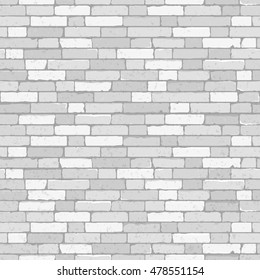 Seamless brick wall. Repeating white texture. Vector illustration