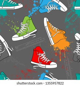 Seamless bright abstract pattern with multicolor sneakers, grunge ellement on gray background . Prints for T-shirts, textiles, clothes, sports, and more