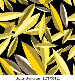 Seamless bright autumn pattern with golden leaves on a dark background