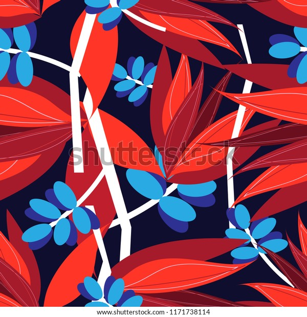 Seamless bright autumn pattern with red and blue leaves on a dark background