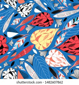 Seamless bright autumn vector pattern with colorful beautiful leaves against a dark background. Template design fabric wallpaper, web page.