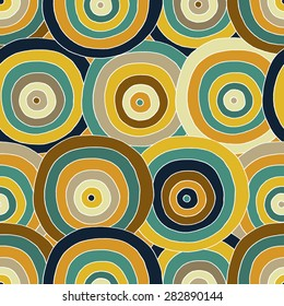Seamless bright background. Decorative geometric pattern with doodle  circles. Seamless pattern can be used for wallpaper, web page background, surface textures. Hand-drawn vector illustration.