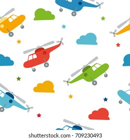 Seamless bright color pattern with cute cartoon helicopter. Baby pattern. Retro kids seamless pattern with helicopters and stars.