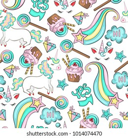 Seamless bright colorful pattern of unicorns, phrases hi and da, clouds of thoughts, stars, crystal, ice cream, cake, caramel, candy, sweets, pastel pink sweets, yellow, blue, turquoise, shades.