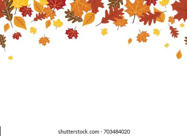 Seamless Bright Fall Autumn Leaves Border 1
