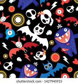 Seamless bright festive Halloween pattern with bats and monsters on a dark background