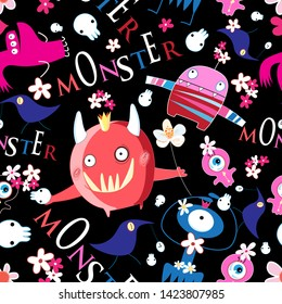Seamless bright funny Halloween pattern of monsters on a dark background with skulls