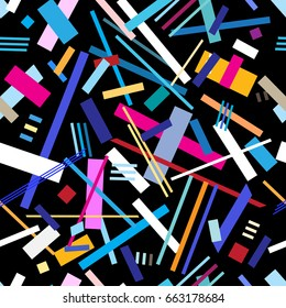 Seamless bright geometric pattern from strips and lines on a dark background