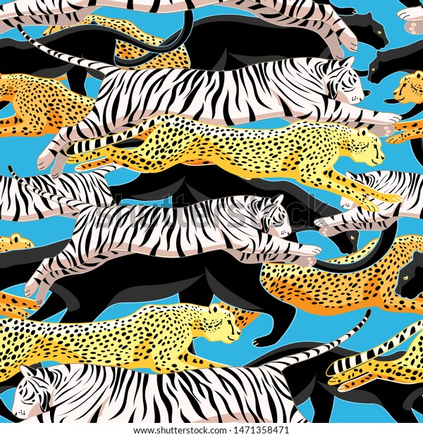 Seamless bright jungle pattern of panthers, cheetahs and tigers on a blue background. Template for wallpaper, fabric or web page.