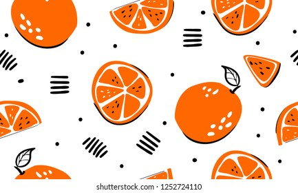 Seamless bright light pattern with Fresh oranges for fabric, drawing labels, print on t-shirt, wallpaper of children's room, fruit background. Slices of a orange doodle style cheerful background.