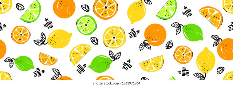 Seamless bright light pattern with Fresh citrus for fabric, drawing labels, print on t-shirt, wallpaper of children's room. Slices oflemon, lime, orange, citrus doodle style cheerful background.