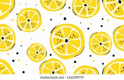 Seamless bright light pattern with lemons for fabric, drawing labels, print on t-shirt, wallpaper of children's room, fruit background. Slices of a lemon doodle style cheerful background.
