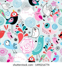 Seamless bright multi-colored pattern of birds in love and flowers on a light background. Design template for wallpaper, fabric or web page.