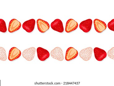 Seamless bright ornament with slices of fresh strawberries
