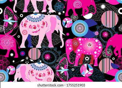Seamless bright ornamental pattern of elephants and geometry on a dark background. Template for fabric or Wallpaper design.
